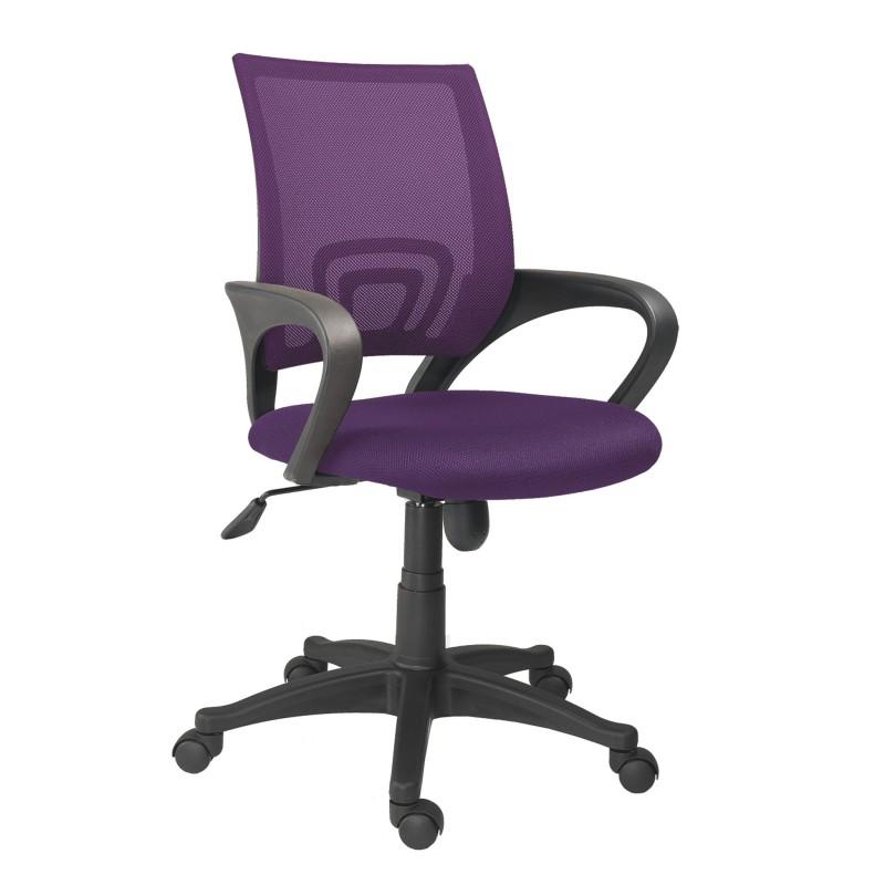 Silla de oficina giratoria, basculante y regulable en altura violeta