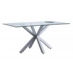 Mesa comedor fija de cristal y patas metálicas en blanco de 160x90