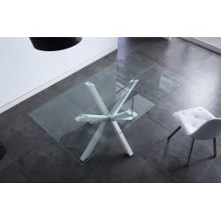 Mesa comedor fija de cristal y patas metálicas en blanco