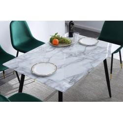 Mesa de comedor, cocina de cristal efecto marmol