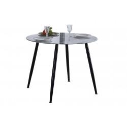 Mesa de comedor, cocina redonda de cristal efecto marmol