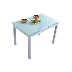 Mesa de Cocina Roma de 110x70 de Cristal Templado Extensible Blanca
