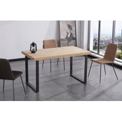 Mesa de comedor fija de madera de roble salvaje/negro