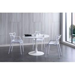 Mesa de comedor redonda lacada blanco de 110 cm
