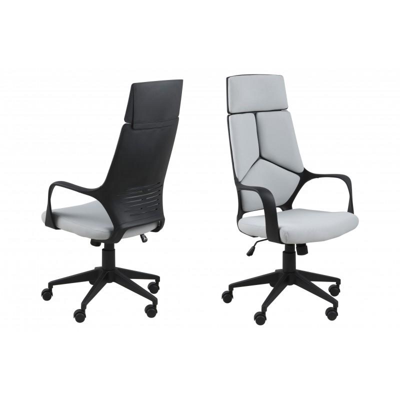 Sillón despacho con ruedas giratorio gris claro y negro