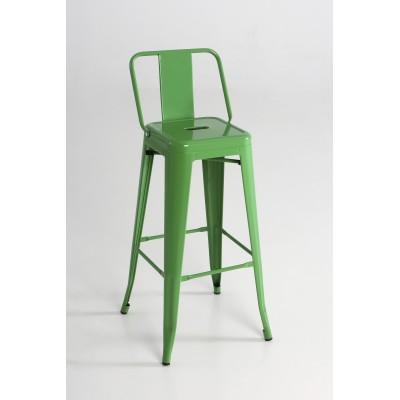 Taburete alto metal con respaldo color verde