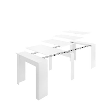 Mesa consola extensible Verona blanco brillo abierta