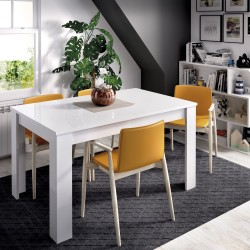 Mesa de comedor extensible Atlas Blanco brillo