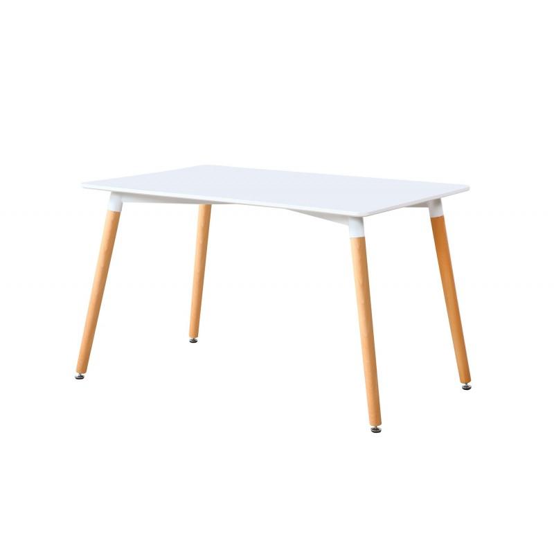 Mesa de comedor fija Nórdica Blanco / Haya de 140x80
