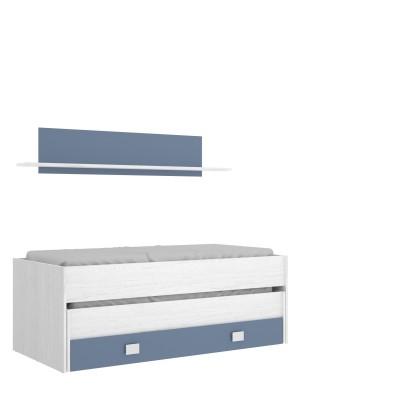 Cama compacto de 2 camas + cajón y estante pared