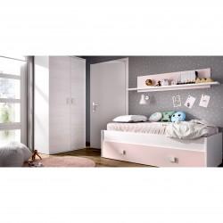 Cama nido Veska + cajón y estante pared