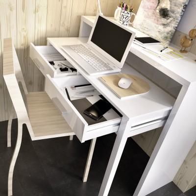 Consola escritorio Bea extensible con 2 Cajones Blanca