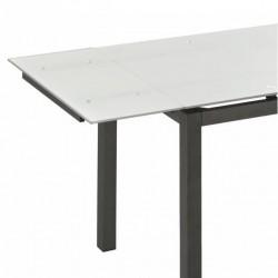 Mesa de cocina extensible blanca y acero grafito