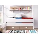Cama compacto Veska de 2 camas + 2 cajones y estante pared