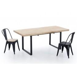 Mesa de comedor Kove extensible de 140x80 cm. de madera roble - patas metal negro