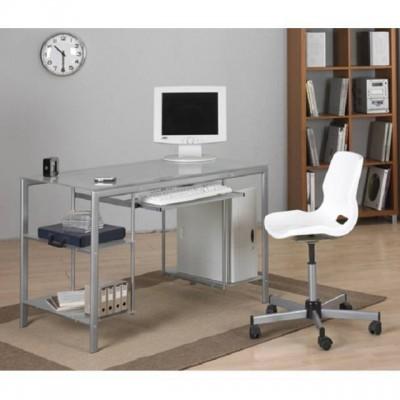 Mesa de ordenador en acero y cristal barata y muy ligera - Mesas de cristal y acero ...