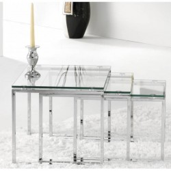 Set de tres Mesas Nido en Cristal y Cromo
