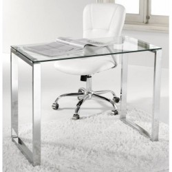 Mesa de estudio o despacho cristal y patas cromadas de 100 cm