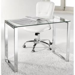 Mesa estudio o despacho cristal y patas cromadas de 100 cm